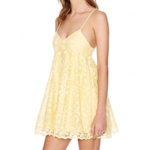 Nasty Gal Sun Showers Yellow Lace Babydoll Dress
